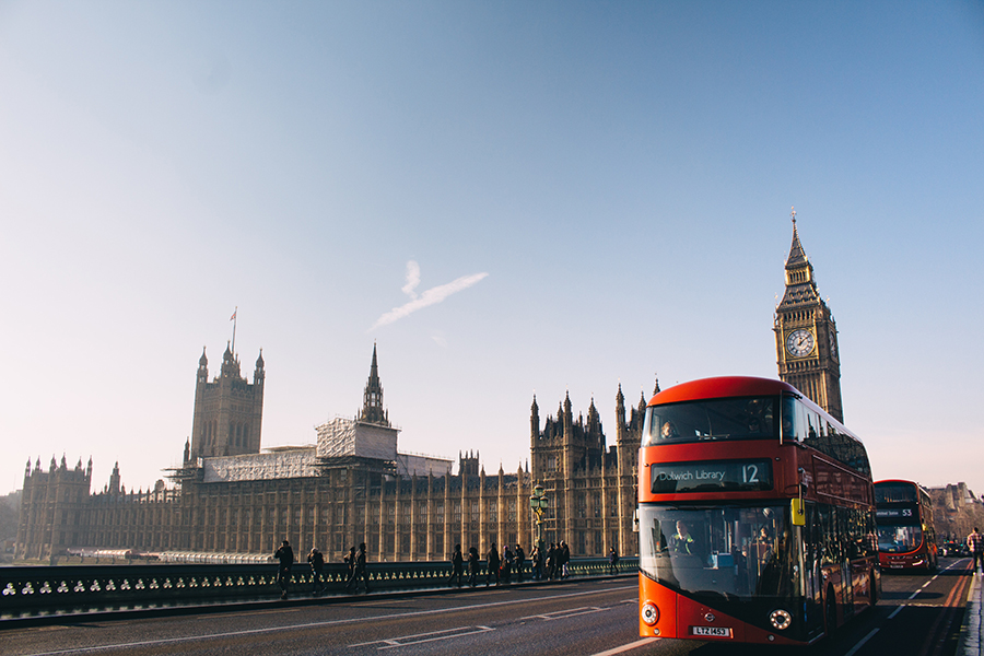 london double decker bus in front of big ben