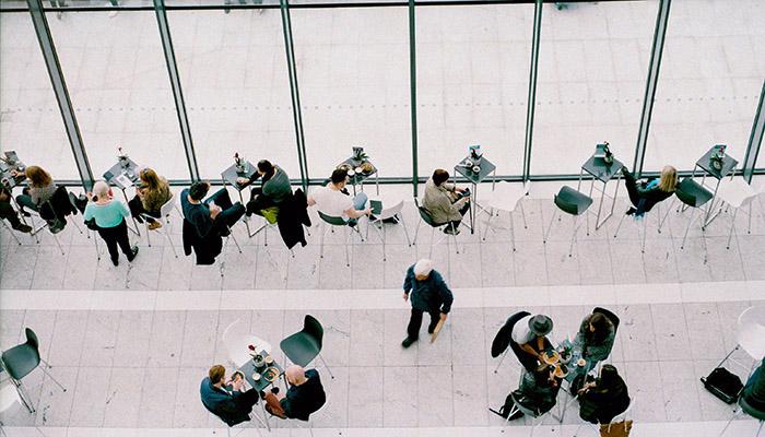 Bird's eye view of corporate office lunchroom