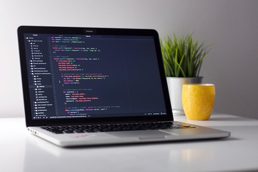 macbook with code
